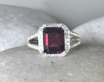 Garnet Ring Rectangle Red Gemstone Garnet Double Band Emerald Shape Garnet Engagement Ring Anniversary Bridal Garnet Wedding Ring
