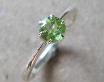 Peridot Small Ring Prong August Birthstone Genuine Round Minimal Stack Green Sterling Silver