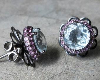 Clear Quartz Stud Earring- White Quartz Halo Earring- Round Large Statement Earring- Artisan Handmade Earring- April Birthstone Earring