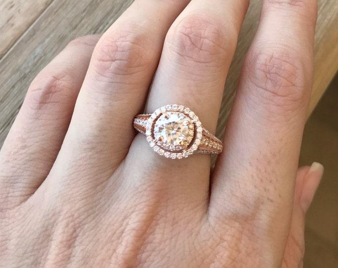 Moissanite Engagement Ring Rose Gold