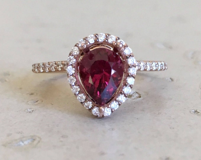 Genuine Red Garnet Engagement Ring Rose Gold Halo Bridal Garnet Ring Diamond Half Eternity Promise Anniversary Ring January Birthstone