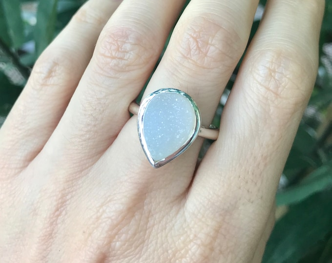 Teardrop White Druzy Galaxy Ring - Large Raw Pear Gemstone Solitaire Ring- Real Druzy Statement Silver Ring- Jewelry Gift Valentine Ring
