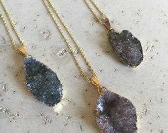 Raw Druzy Gold Necklace- Black Druzy Necklace- Boho Statement Necklace- Rough Stone Necklace- Healing Genuine Necklace- Raw Necklace