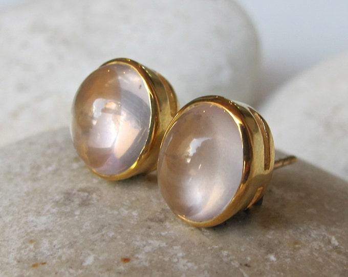 Oval Rose Quartz Stud Earring- Rose Gold Bezel Genuine Rose Quartz Earring- Light Pink Minimal Earring- Classic Sterling Silver Stud