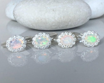 Opal Engagement Ring Halo Oval