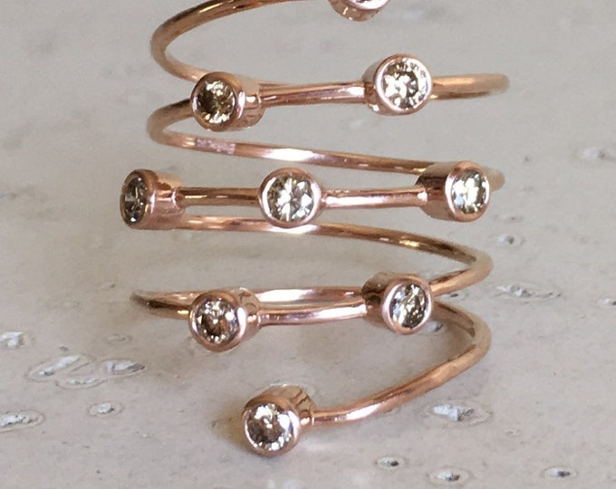 Rose Gold Wrapped Spiral Diamond Ring Champagne Diamond Coiled Bypass Multistone Statement Ring Modern Open Spring Ring