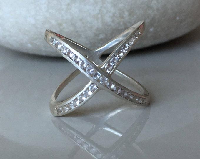 X White Topaz Ring Sterling Silver Criss Cross Boho Ring