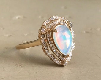 Opal Deco Engagement Ring- Opal Halo Teardrop Promise Ring- Art Deco Genuine Opal Ring- Vintage Inspired Ring- October Birthstone Ring-