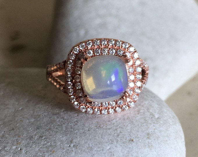 Cabochon Opal Engagement Ring- Double Halo Statement Ring- October Birthstone Ring- Cushion Cut Natural Opal Ring- Split Band Silver Ring