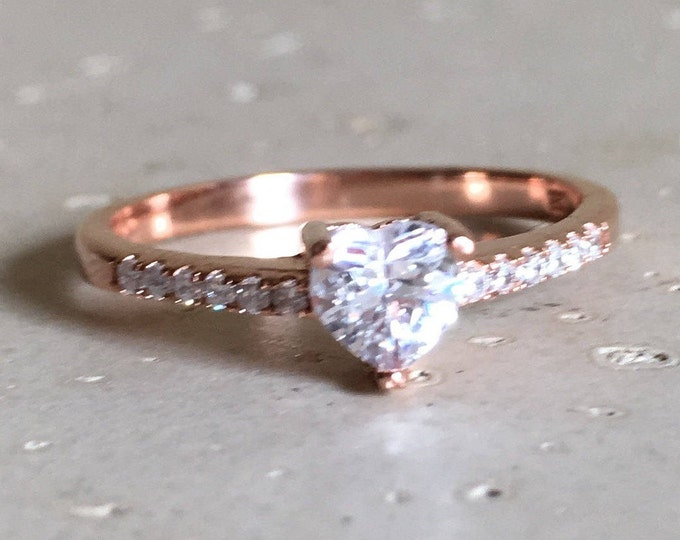 Rose Gold Heart Ring- Rose Gold Promise Ring- Heart Shape Engagement Ring- Heart Anniversary Ring- Valentine Day Ring- Bohemian Love Ring