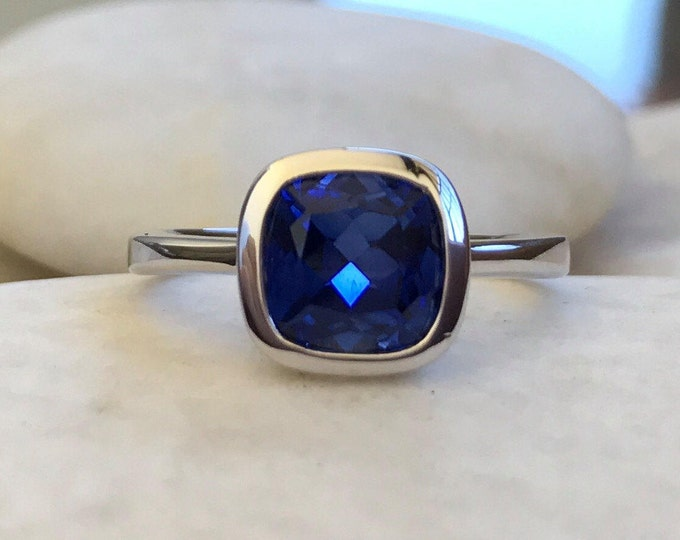 Cushion Blue Sapphire Promise Ring for Her- Lab Dark Blue Square Anniversary Ring- Blue Gemstone Bezel Ring- Sterling Silver Ring