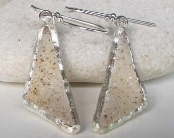 Sterling Silver Druzy Earring- White Druzy Dangle Earring- Real Druzy Drop Earring- Handmade Silver Earring- Geometric Boho Gemstone Earring
