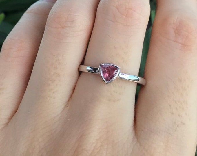 Pink Tourmaline Triangle Stackable Boho Ring- Minimalist Pink Gemstone Sterling Silver Teen Ring- October Birthstone Dainty Ring