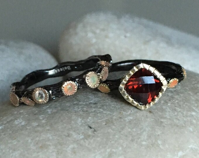 Garnet Bridal Rustic Ring Set with Opal Band- Unique Garnet Opal Engagement Ring Set- January October Birthstone Ring- Whimsical 2 Ring Set