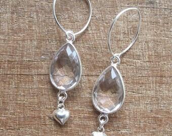 White Quartz Earrings- Gemstone Earrings- White Stone Earrings- Quartz Earring- Topaz Earring- Stone Earring- Heart Earring- Silver Earring