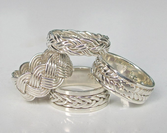 Silver Woven Wedding Band Ring