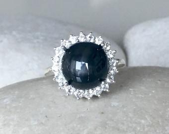 Lab Star Sapphire Engagement Ring- Black Engagement Ring- Halo Round Black Gemstone Ring- Septemeber Birthstone Ring- Large Statement Ring