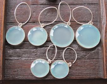 Blue Hoop Dangle Earring- Aqua Blue Bohemian Earring- Classic Everyday Drop Earring- Baby Blue Silver Earring- Minimalist Simple Earring