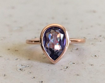 Pear Mystic Topaz Ring- Rose Gold Ring- Mystical Gemstone Ring- Rainbow Mermaid Boho Ring- Minimalist Sterling Silver Ring- Festive Ring