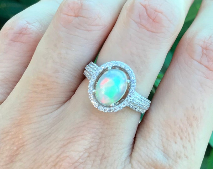 Fire 1ct Opal Oval Engagement Ring- Genuine Welo Opal Promise Ring- Cabochon Opal Halo Solitaire Ring- Sterling Silver Opal Statement Ring