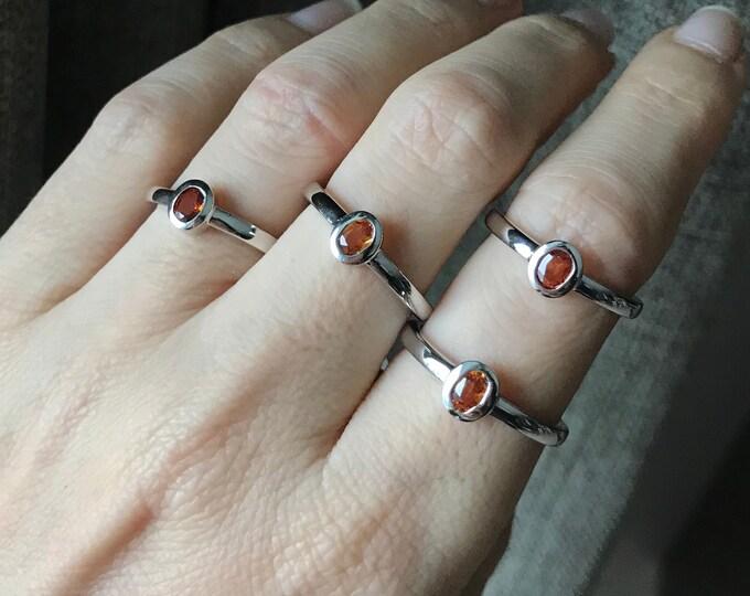 Tiny Garnet Oval Stack Silver Ring- Hessonite Orange Garnet Dainty Ring- Citrine Bezel Ring for Children- Gemstone Ring for Teen
