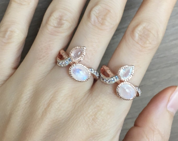 Rose Gold Moonstone Leaf Ring- Tree Branch Statement Ring- MultiStone June Birthstone Ring- Unique Gemstone Twig Ring