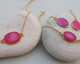 Oval Pink Jewelry Set- Pink Druzy Necklace Earring Bracelet- Pink Gemstone Druzy Jewelry- Simple Pink Jewelry Set