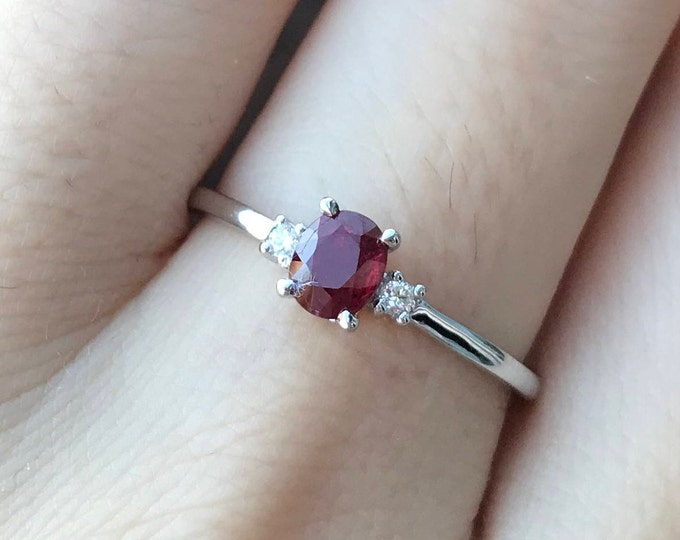 Dainty Genuine Ruby Engagement Ring with Diamonds in 18k Gold Small Oval Ruby Promise Ring