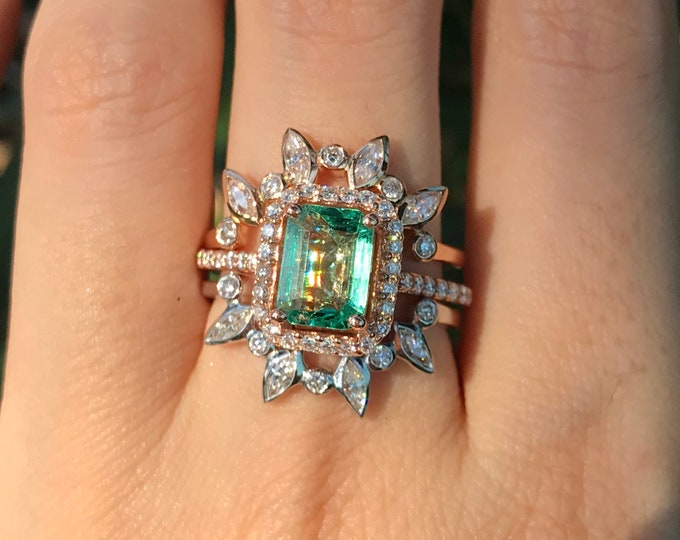 Genuine Emerald Engagement Ring Set- 14k Emerald with Diamond Bridal Ring Set-Sunburst Solitaire Green Rectangle Emerald Halo 3 Ring Set