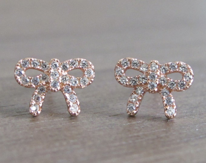 Rose Gold Bow Earring- Crystal Bow Earring- Bow Stud- Bow Earring- Rose Gold Earring- Silver Bow Earring- Silver Stud- Crystal Stud