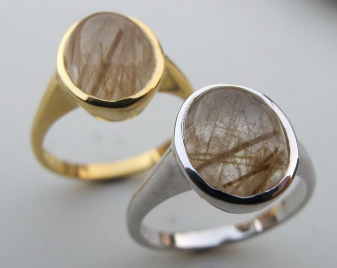 Oval Bohemian Quartz Ring- Gold Needle Boho Ring- Unique Gypsy Gemstone Ring- Gold Rutilated Quartz Ring- Simple Minimalistic Ring
