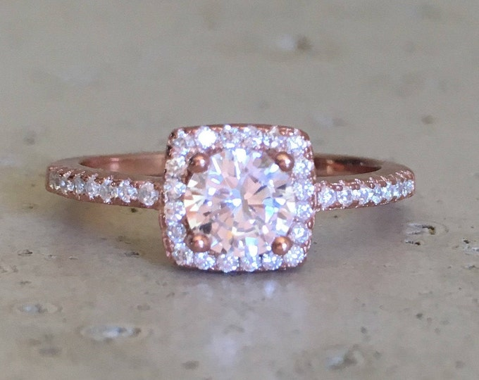 Rose Gold Promise Ring- Rose Gold Engagement Ring- Halo Cubic Zirconia Ring- Classic Anniversary Ring- Square Alternative Engagement Ring