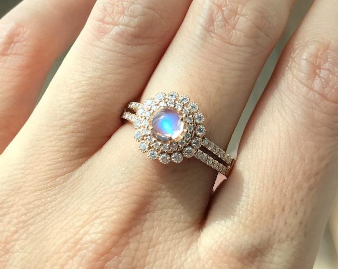 Moonstone Halo Engagement Ring- Round Moonstone Diamond Floral Promise Ring- Split Shank Moonstone Anniversary Ring- Rose Yellow White Gold