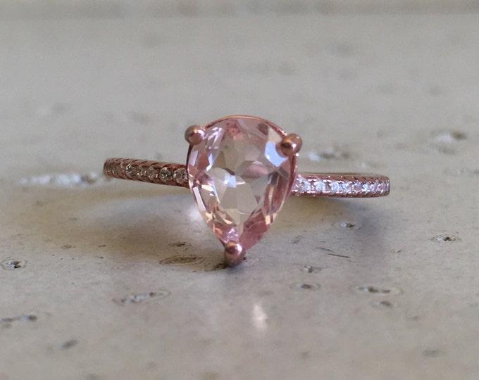 9x7mm Morganite Engagement Ring- Morganite Promise Ring- Bridal Wedding Ring- Pink Gemstone Ring- Rose Gold Morganite Ring- Rose Gold Ring