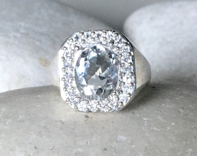 3ct White Topaz Large Ring- Oval Colorless Gemstone Engagement Ring- Alternative Diamond Bold Ring- Halo Clear Stone Solitaire Large Ring