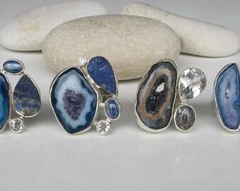Raw Lapis Lazuli Ring- Raw Crystal Ring- Rough Geode Multistone Ring- Sterling Silver Cluster Gemstone Ring Boho 925 Silver Statement