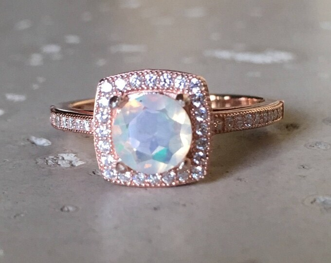 Rose Gold Engagement Ring- Welo Opal Promise Ring- October Birthstone Ring- Genuine Opal Bohemian Ring- Womens Anniversary Ring