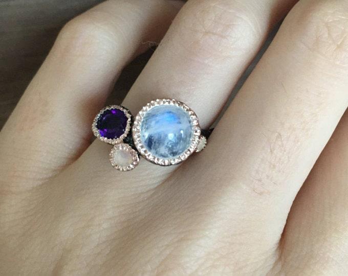 Moonstone Amethyst Opal Cluster Ring Tree Branch Statement Ring- MultiStone Birthstone Gemstone Ring- Boho Statement Ring Boho