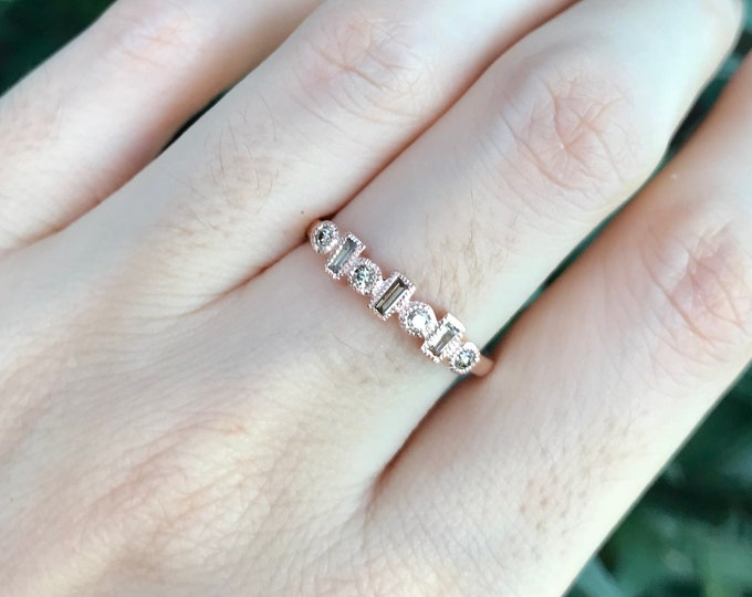 Champagne Diamond Women Wedding Cluster Band- Baguette Rose Gold Art Deco Milgrain Band- Brown Diamond Stackable Nesting Band for her