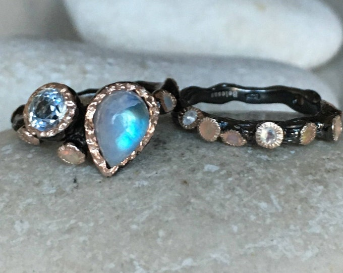 Nature Engagement Ring Moonstone Opal Ring Set Bridal Unique Engagement Ring Set