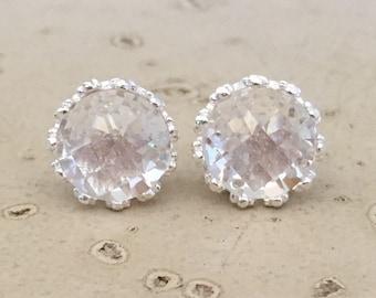 Bridal White Quartz Stud- Round White Topaz Earring- Classic Wedding Stud Earring- Simple Clear Silver Earring- Engagement Stud Earring