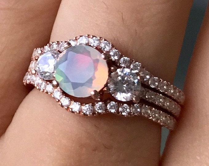 Opal Engagement 3 Vintage Ring Set- Round Opal Bridal Ring Deco Set- Three Stone Anniversary Ring- Promise Ring for Her w/ Bands