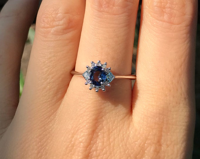 Royal Blue Sapphire Deco Promise Ring for Her- Dainty Dark Blue Sapphire Engagement Ring- Halo Sapphire Anniversary Ring- September Ring