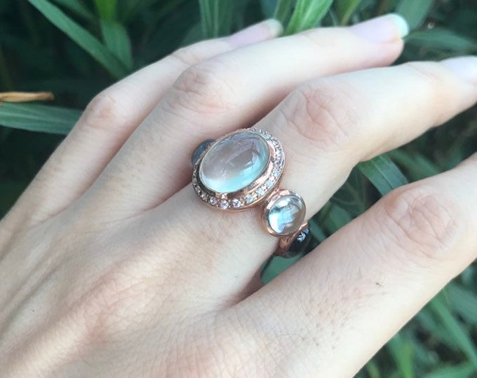 Reserved for Luisa Blue and Black Sapphire Cluster Ring- Avant Garde Statement Ring- Fluorite Oval Bubble OOAK Bold Ring- Rose Gold Multisto
