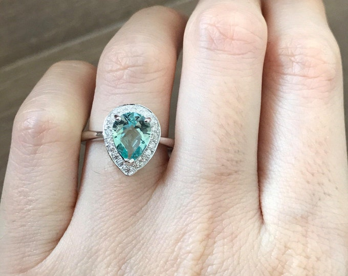 Pear Shape Engagement Ring- Green Quartz Promise Ring- Green Gemstone Engagement Ring- Green Topaz Anniversary Ring- Halo Engagement Ring