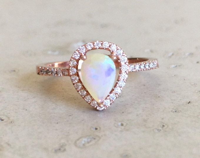 Opal Rose Gold Engagement Ring- Pear Opal Halo Diamond Ring- Genuine Opal Promise Ring- Welo Opal Ring- Color Gemstone Engagement Ring