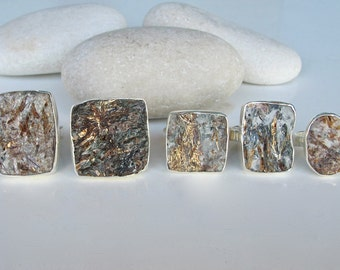 Pyrite Raw Statement Ring- Rough Rectangular Stone Ring- Chunky Large Gemstone Ring- Mens Unique Stone Ring- Mineral Raw Jewelry