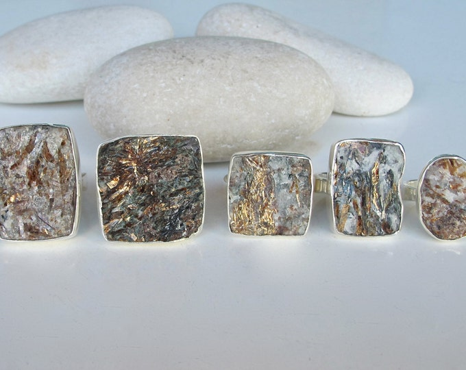 Pyrite Raw Geode Statement Ring- Rock Rectangular Slab Geode Ring- Large Gemstone Ring- Mens Rectangle Stone Ring- Mineral Raw Jewelry