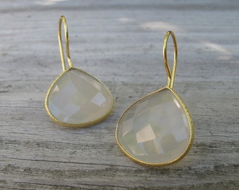 Pear Shape Bridal Earring- Gray Bridesmaids Earring- Gray Drop Dangle Earring- Classic Sterling Silver Earring- Gray Gemstone Earring
