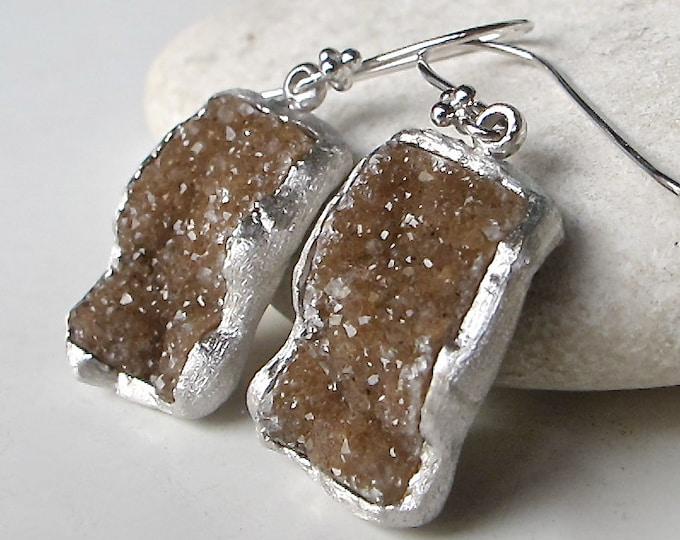 Druzy Earring Silver-Brown Druzy Raw Earring-Statement Sterling Silver Boho Earring-Rough Stone Earring-Raw Crystal Rectangle Dangle Earring